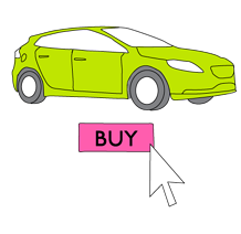 Car with click to buy button