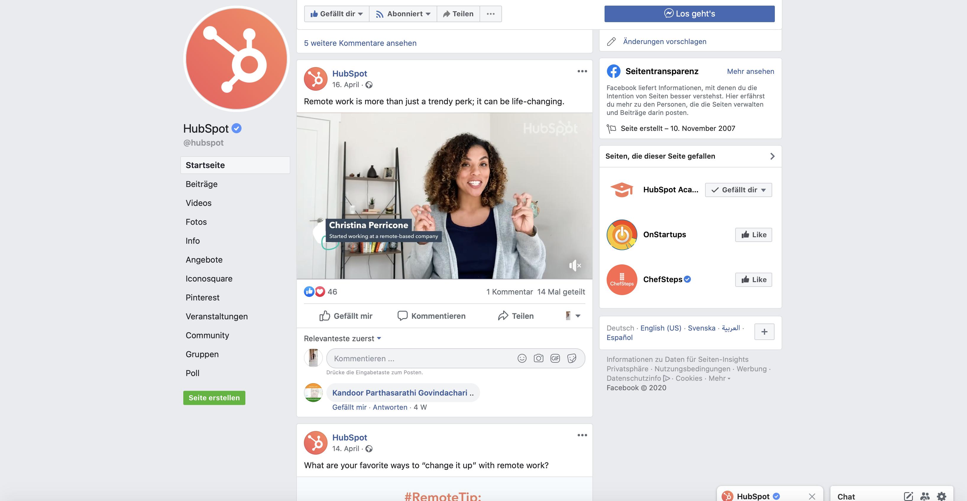 B2B social media example Facebook HubSpot