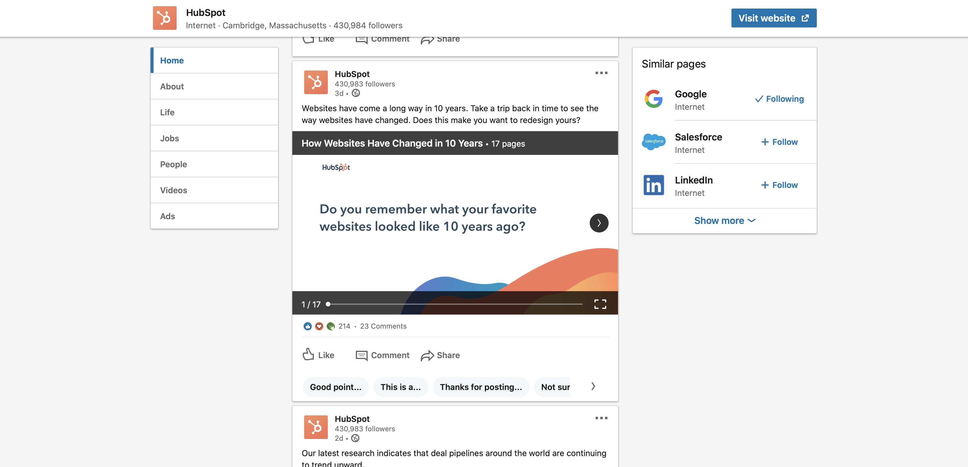 B2B social media example LinkedIn HubSpot