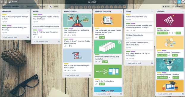Example of a Trello board