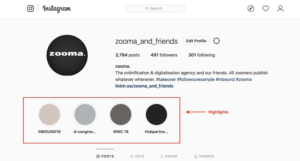 Example:Instagram story highlight