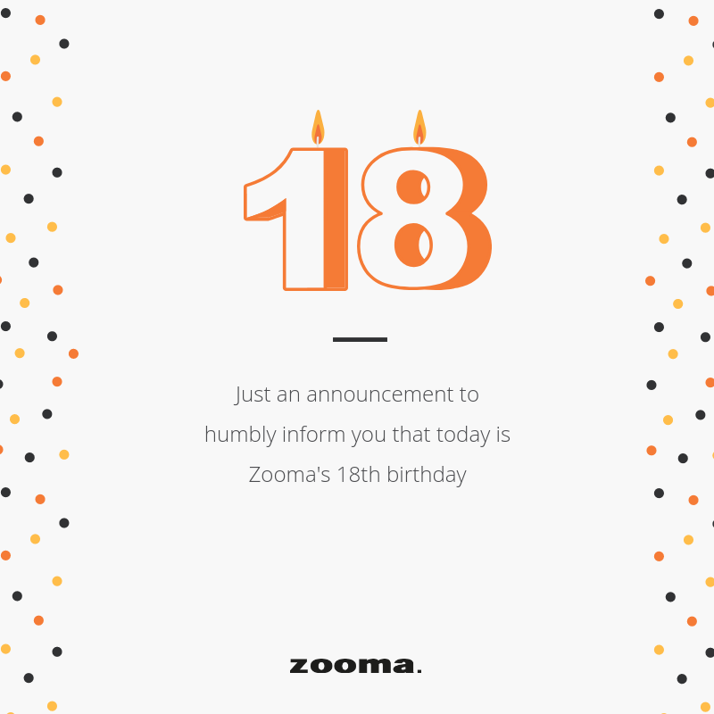 Zooma 18 years today, and celebrates Barncancerfonden!