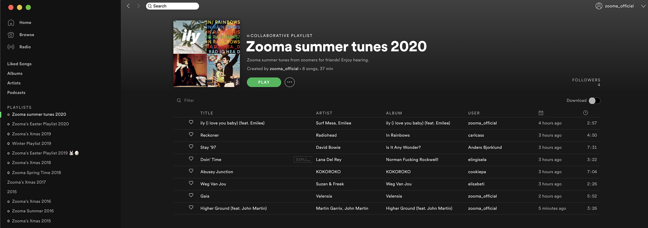 Zooma summer tunes 2020