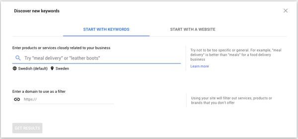 Google Keyword Planner - För sökord och historisk data